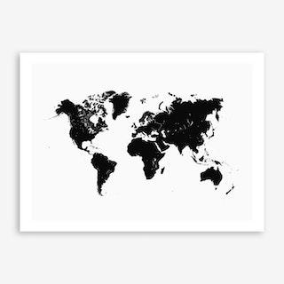 World Map in White Art Print