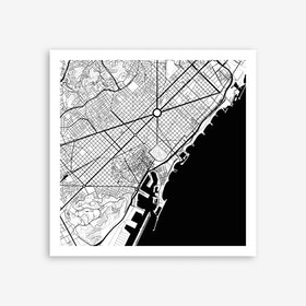 Barcelona Black Art Print