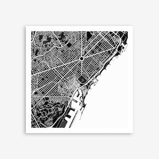 Barcelona in White Art Print