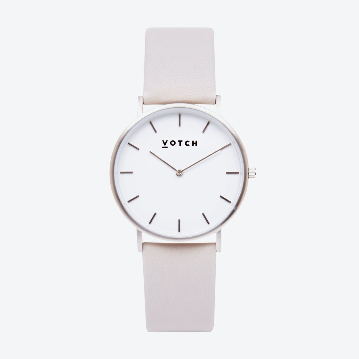 Classic Watch in Silver with White Face and Light Grey Vegan Leather Strap, 38mm