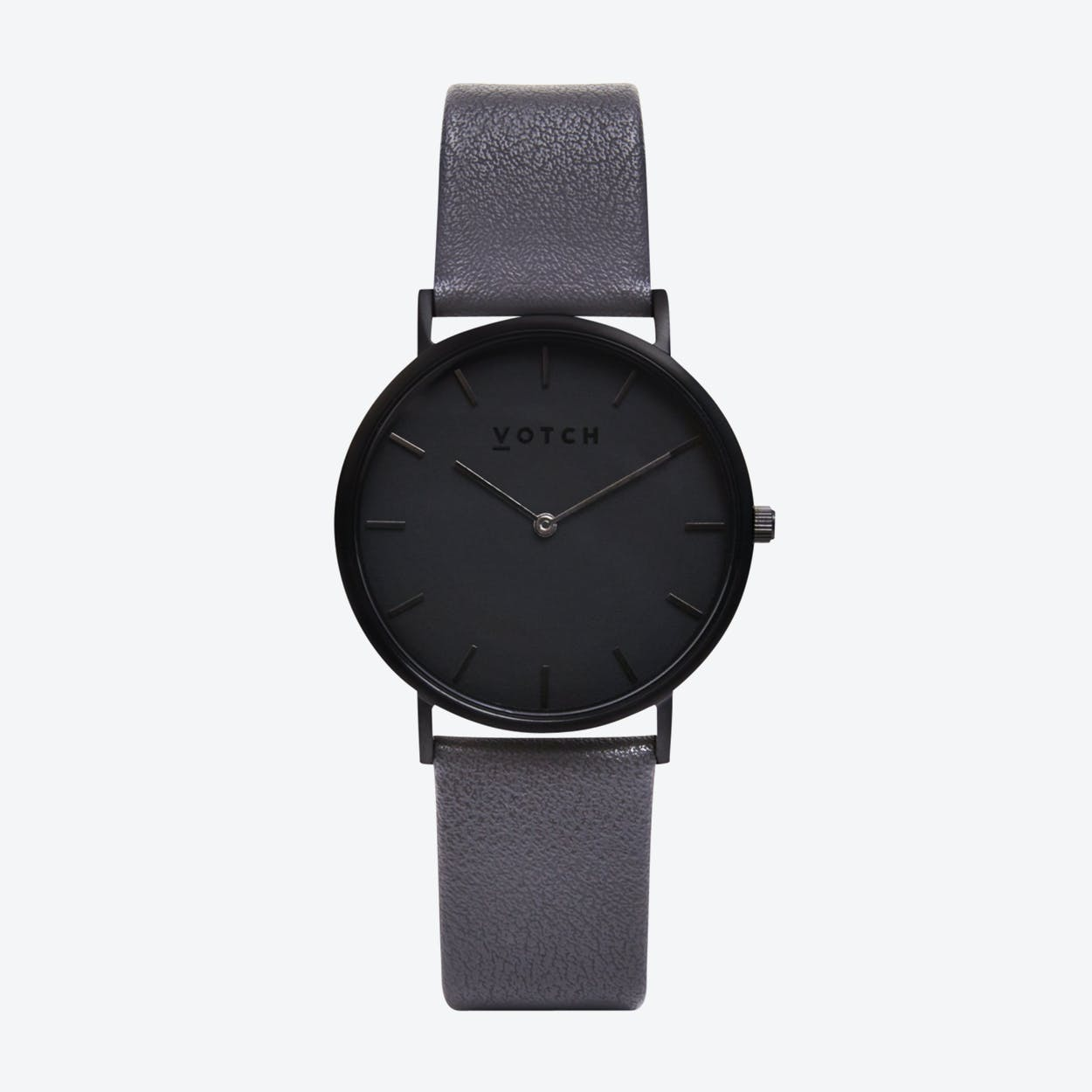 Classic Watch in Black with Black Face and Dark Grey Vegan Leather Strap, 38mm