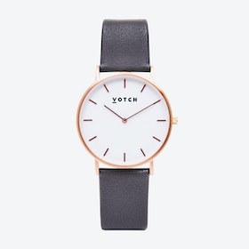 Classic Watch in Rose Gold with White Face and Dark Grey Vegan Leather Strap, 38mm