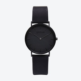 Classic Watch in Black with Black Face and Black Vegan Leather Strap, 38mm