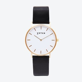 Classic Watch in Gold with White Face and Black Vegan Leather Strap, 38mm