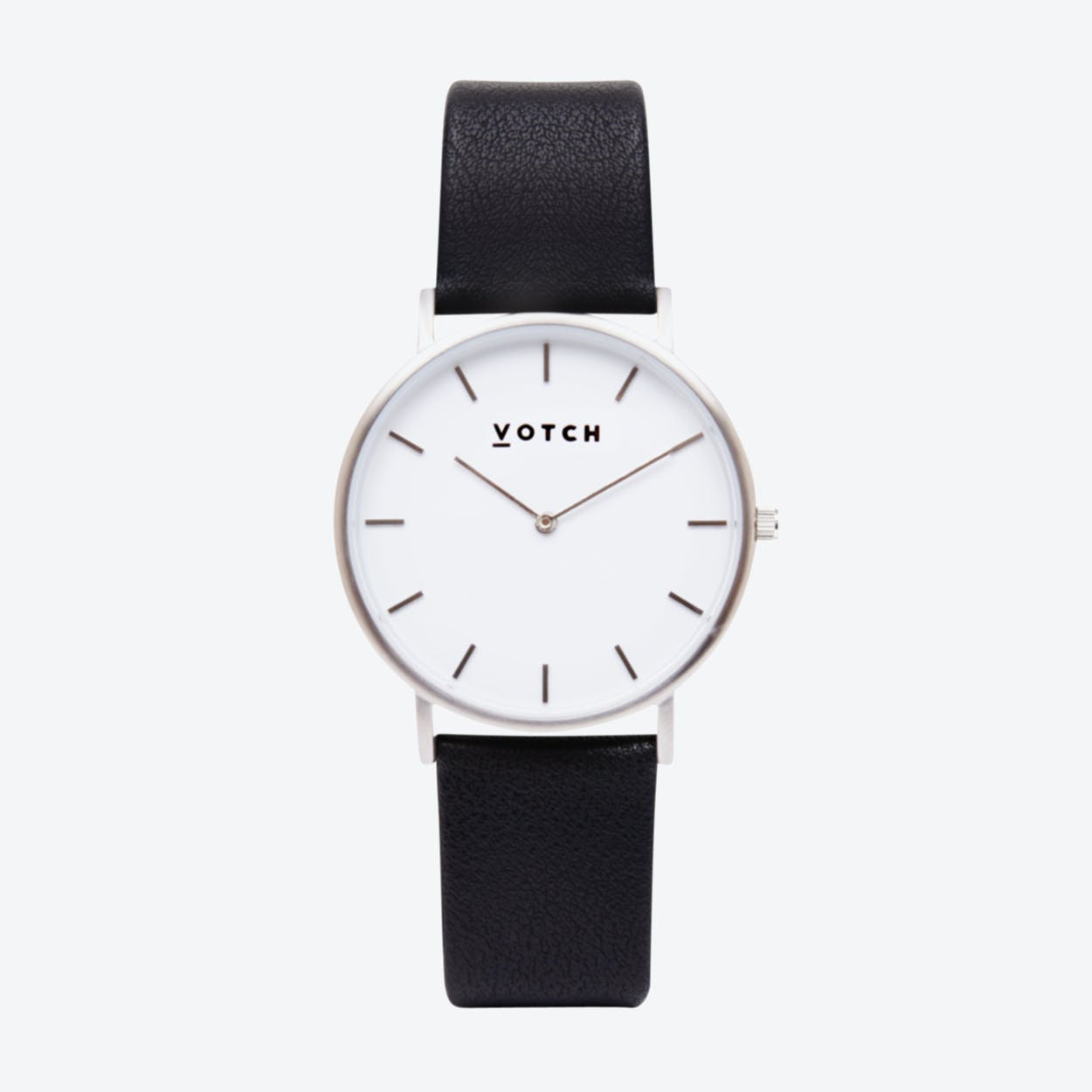 Classic Watch in Silver with White Face and Black Vegan Leather Strap, 38mm