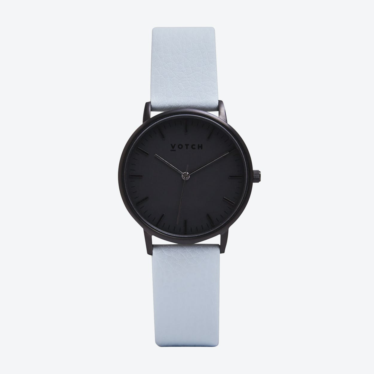 Intense Classic Watch in Black with Black Face and Light Blue Vegan Leather Strap, 36mm