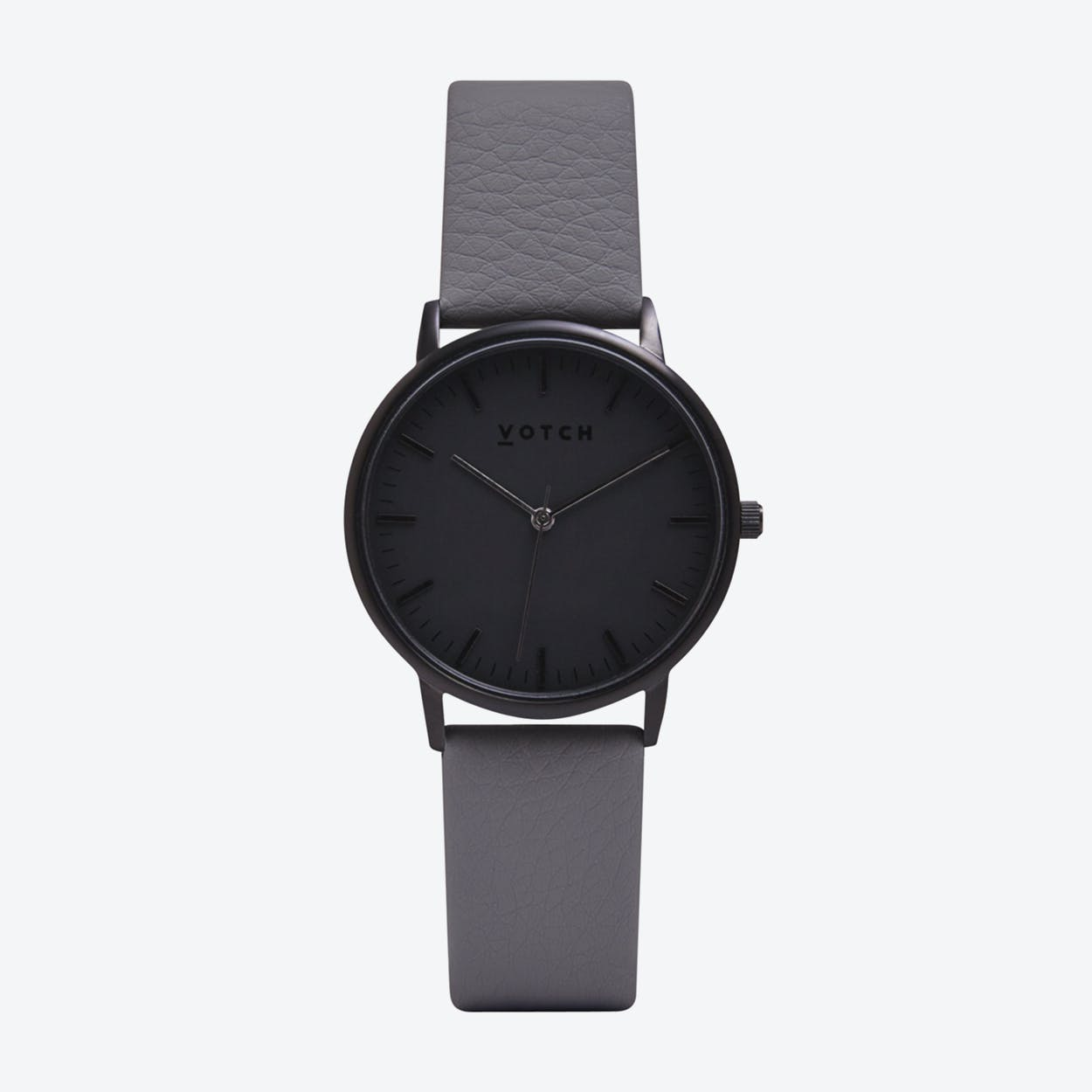 Intense Classic Watch in Black with Black Face and Slate Grey Vegan Leather Strap, 36mm