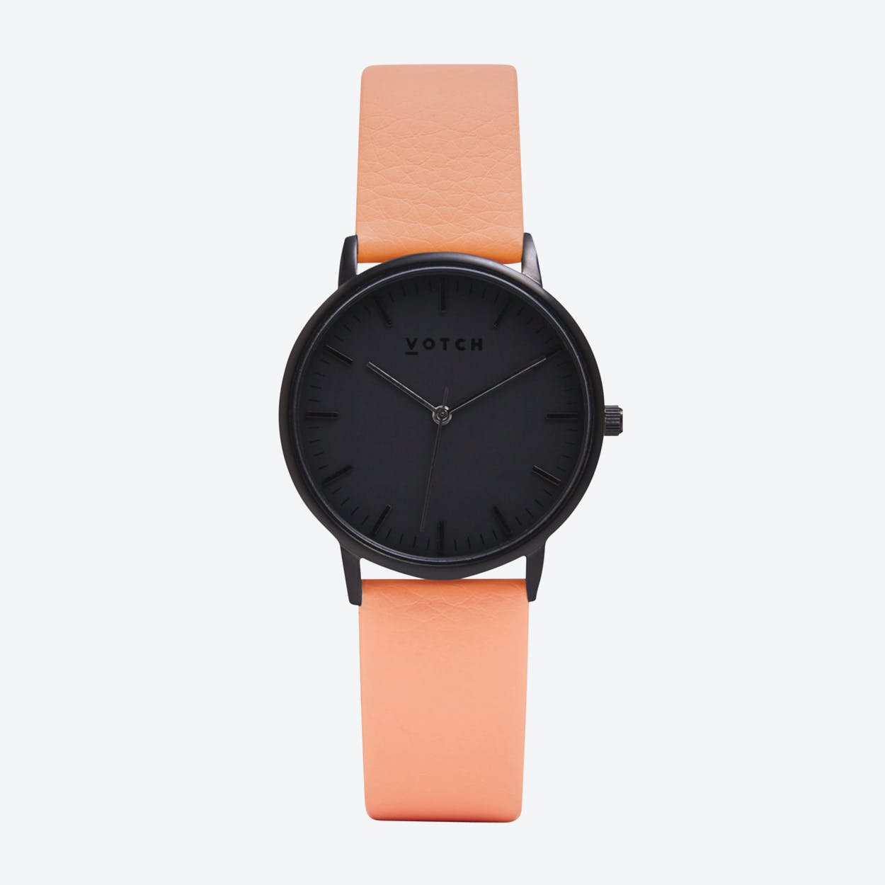 Intense Classic Watch in Black with Black Face and Coral Vegan Leather Strap, 36mm