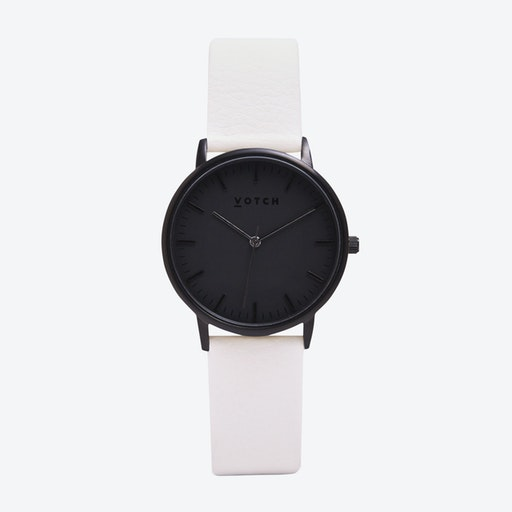 Intense Classic Watch in Black with Black Face and Off-White Vegan Leather Strap, 36mm