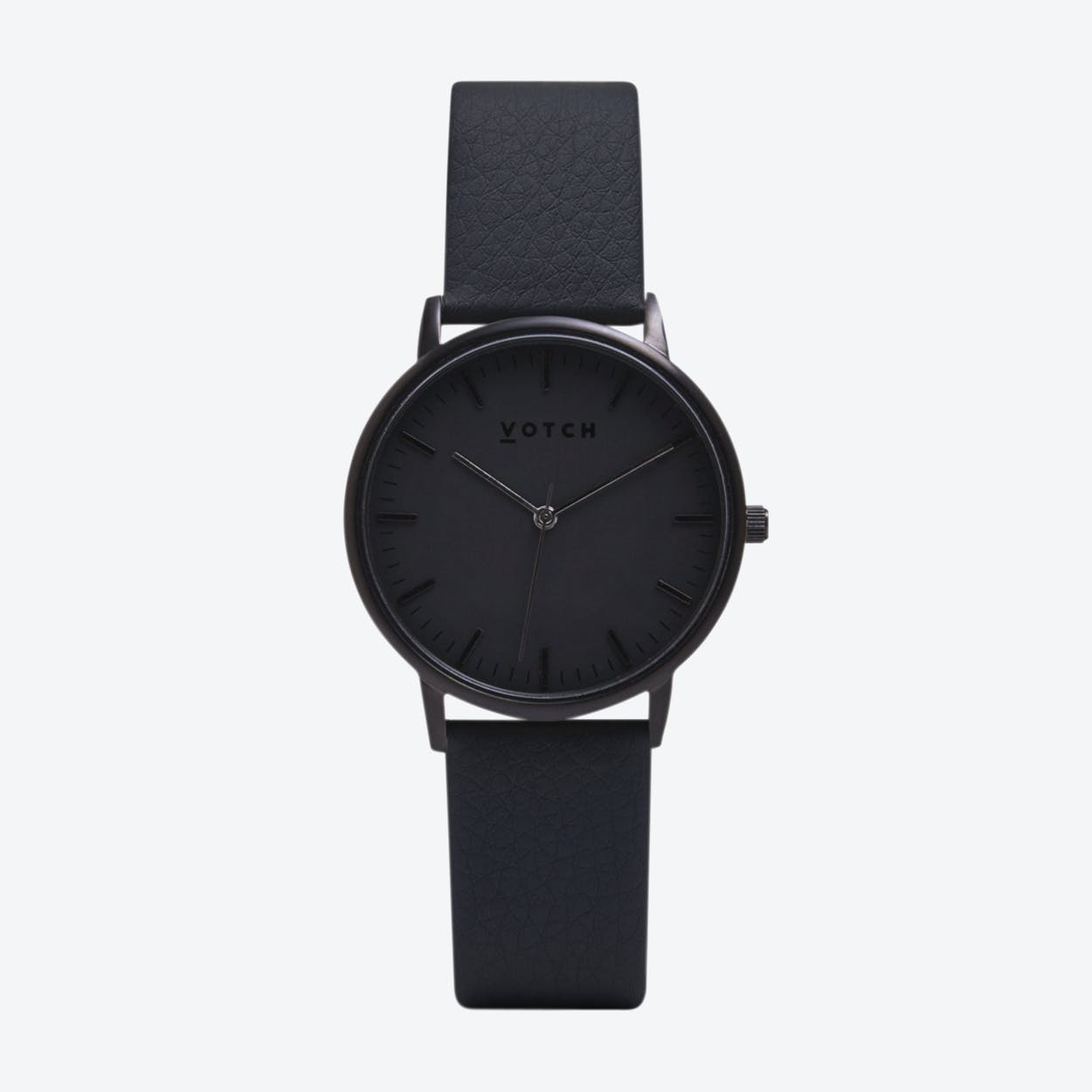 Intense Classic Watch in Black with Black Face and Dark Grey Vegan Leather Strap, 36mm