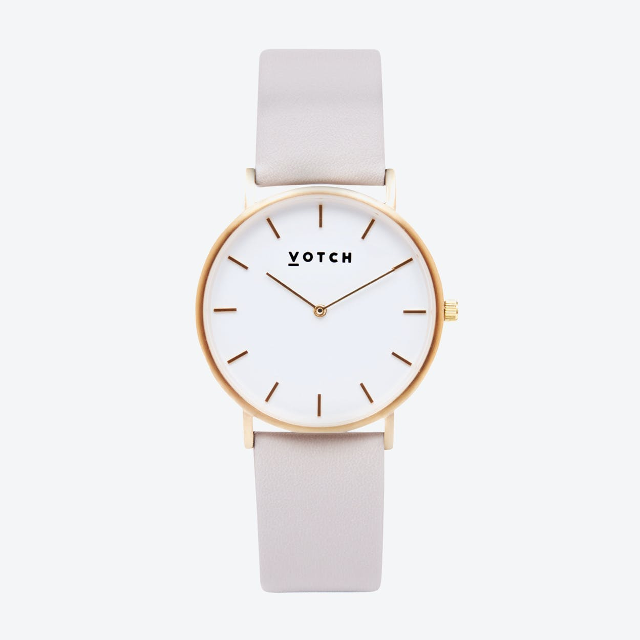 Classic Watch in Gold with White Face and Light Grey Vegan Leather Strap, 38mm