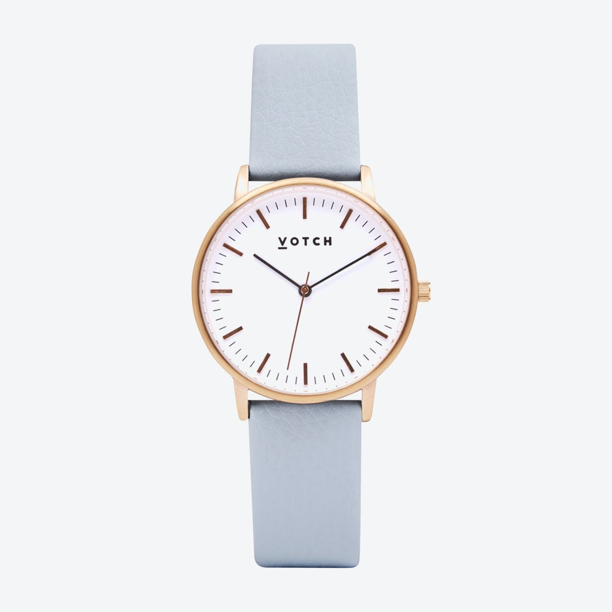 Intense Classic Watch in Rose Gold with White Face and Light Blue Vegan Leather Strap, 36mm