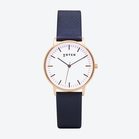 Intense Classic Watch in Rose Gold with White Face and Navy Vegan Leather Strap, 36mm