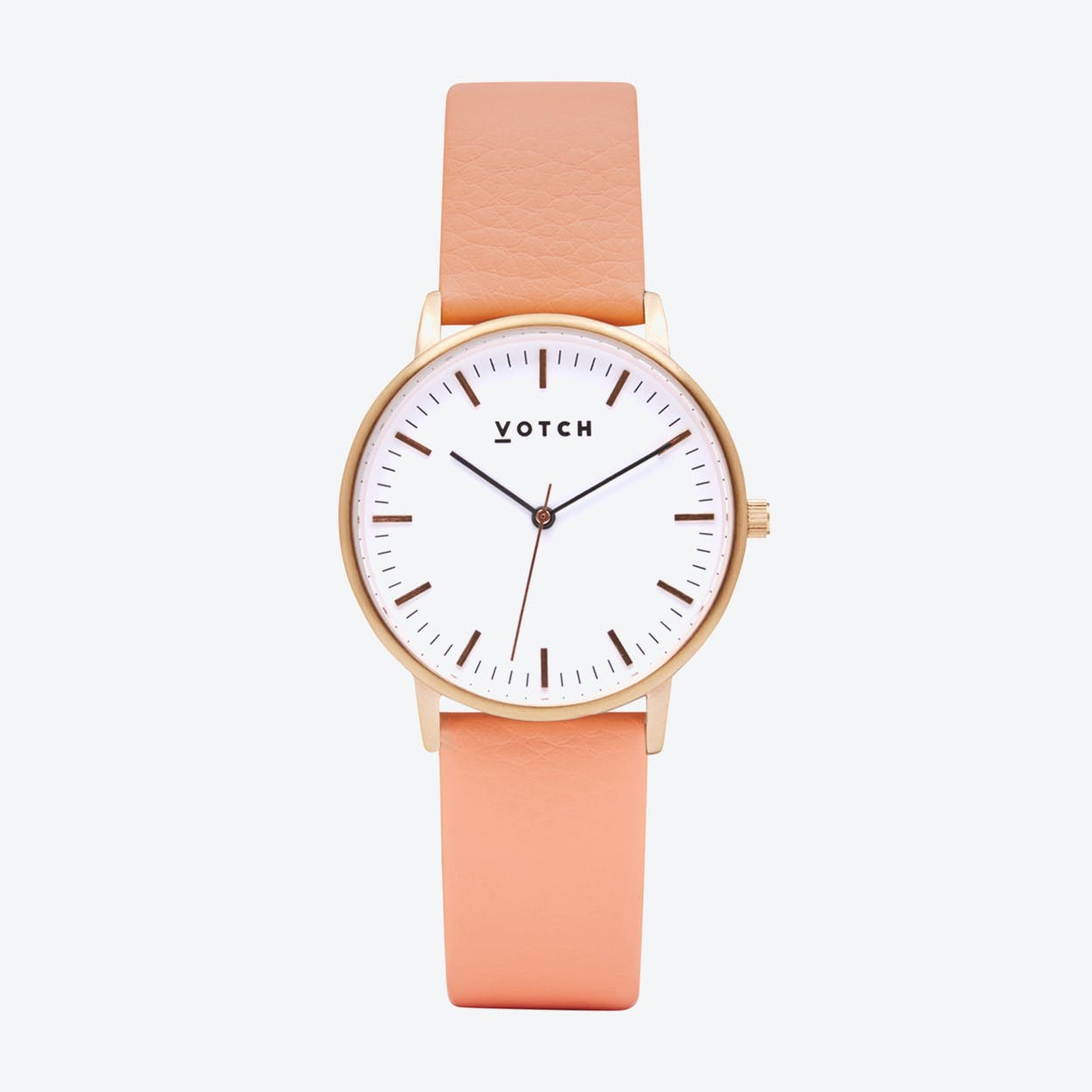 Intense Classic Watch in Rose Gold with White Face and Coral Vegan Leather Strap, 36mm