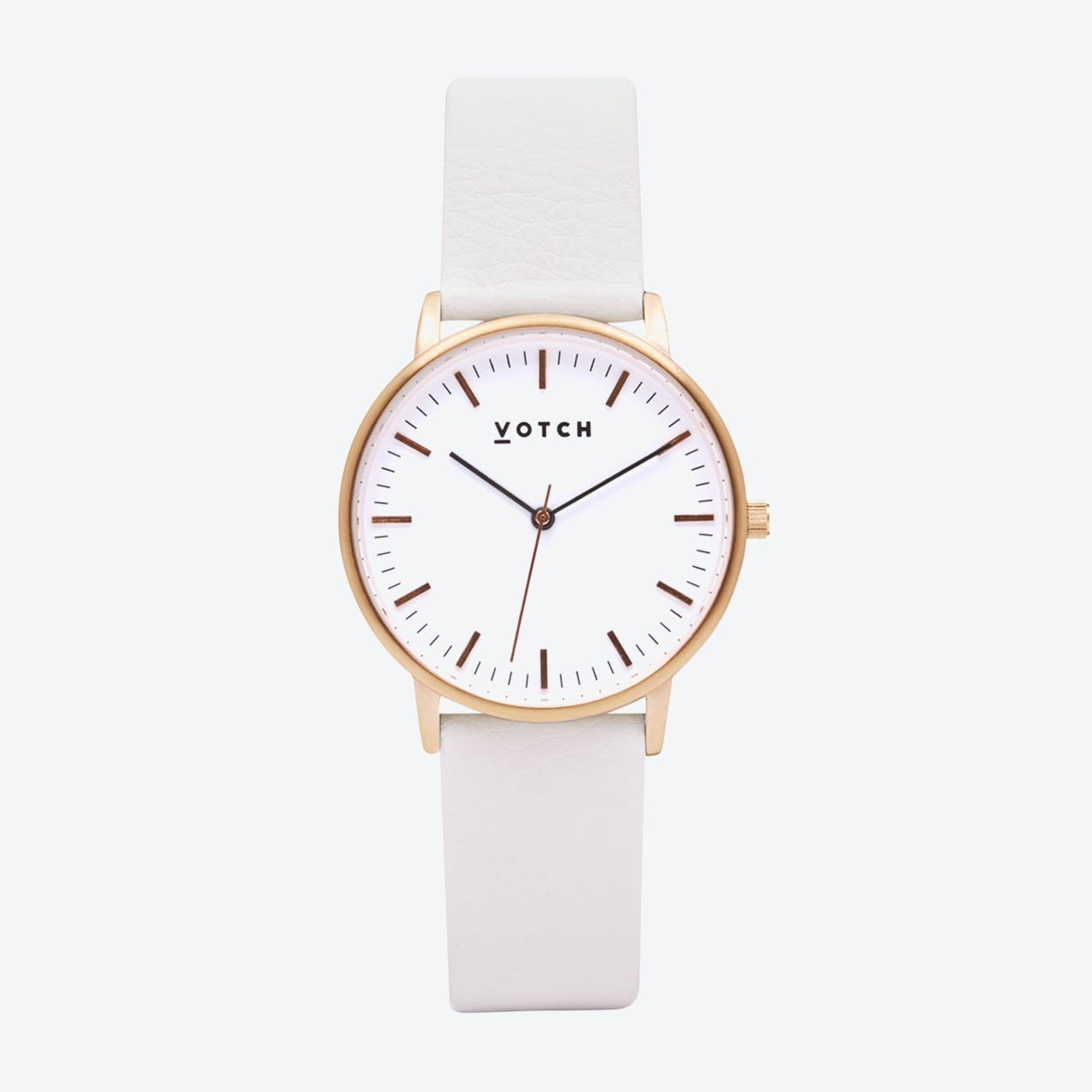Intense Classic Watch in Rose Gold with White Face and Off-White Vegan Leather Strap, 36mm