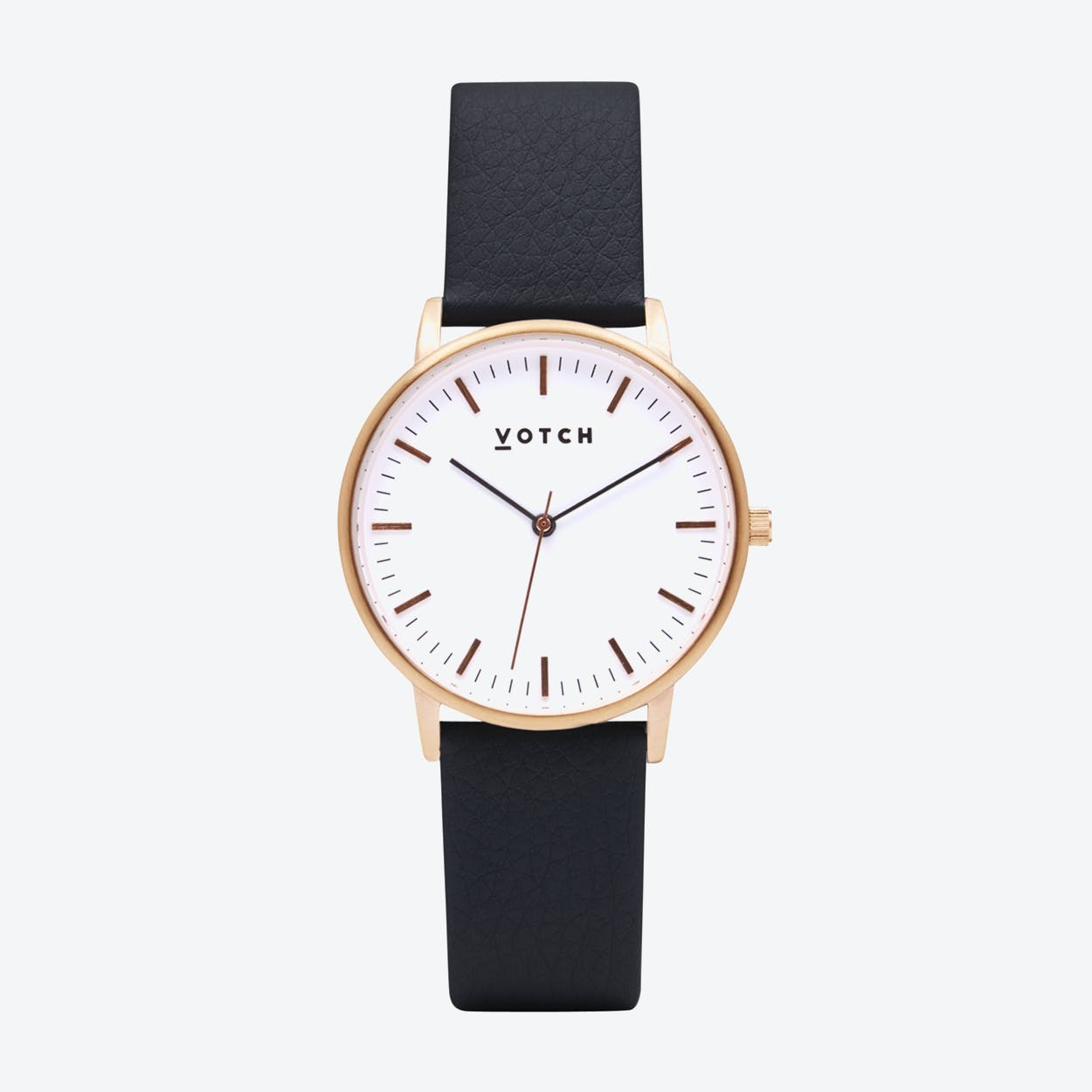 Intense Classic Watch in Rose Gold with White Face and Black Vegan Leather Strap, 36mm