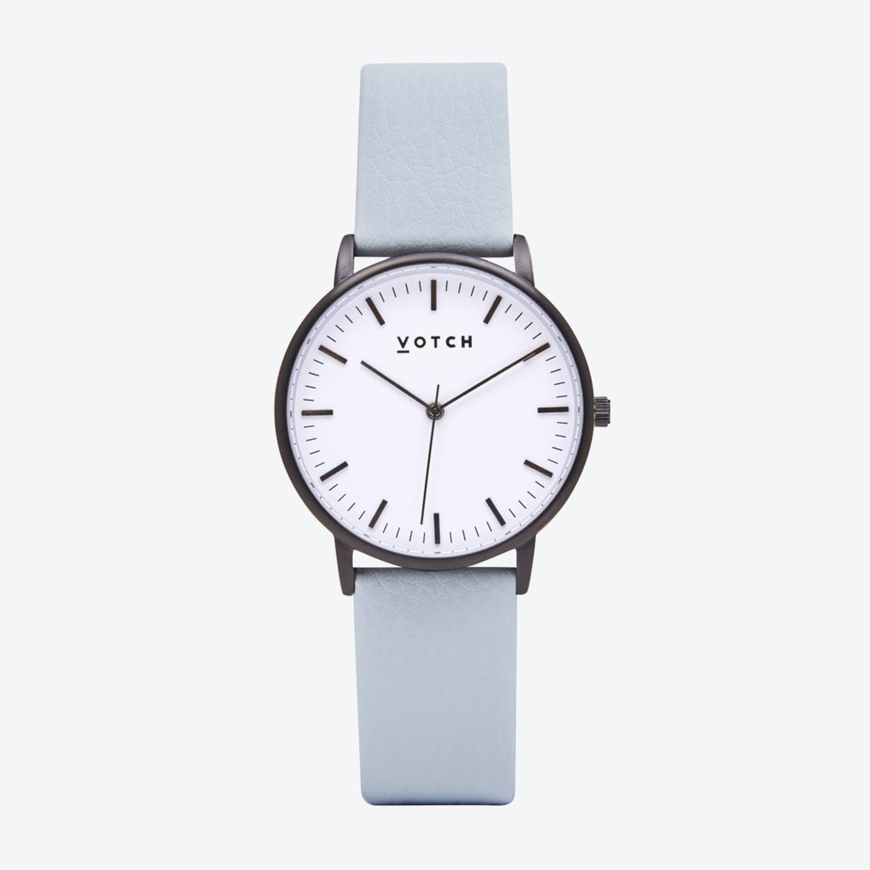 Intense Classic Watch in Black with White Face and Light Blue Vegan Leather Strap, 36mm
