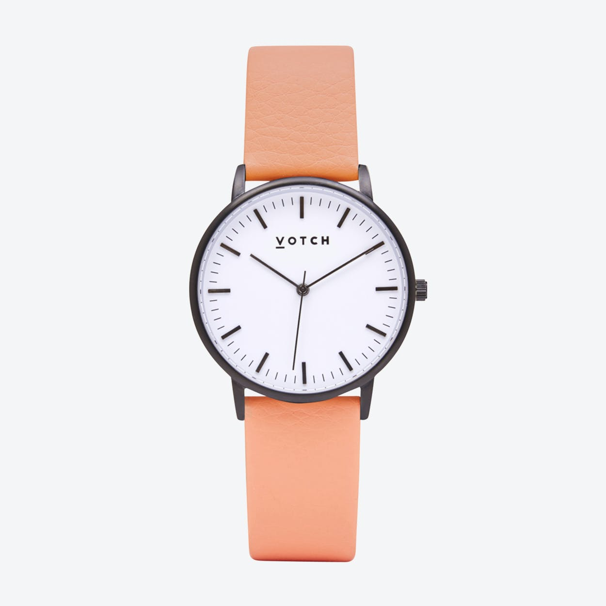 Intense Classic Watch in Black with White Face and Coral Vegan Leather Strap, 36mm