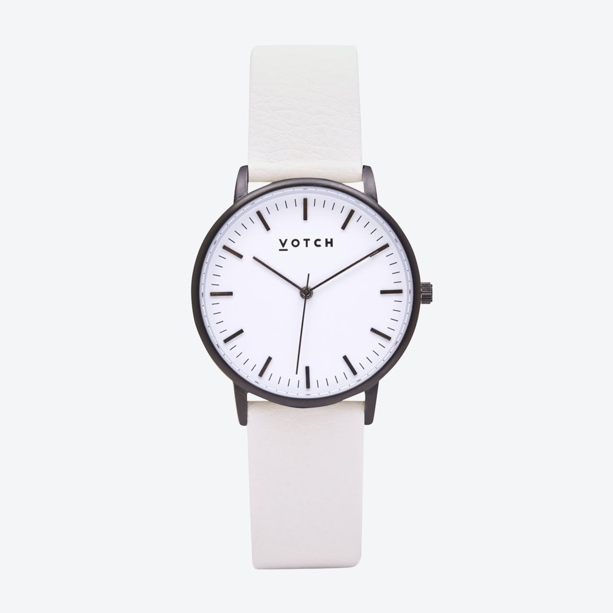 Intense Classic Watch in Black with White Face and Off-White Vegan Leather Strap, 36mm