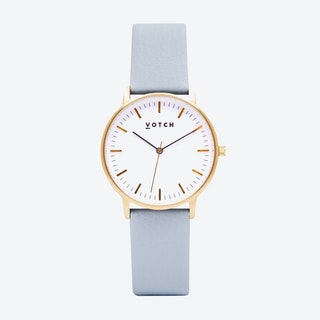 Intense Classic Watch in Gold with White Face and Light Blue Vegan Leather Strap, 36mm