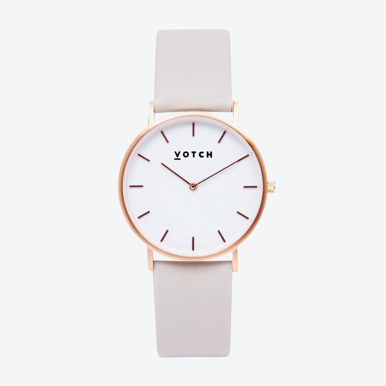 Classic Watch in Rose Gold with White Face and Light Grey Vegan Leather Strap, 38mm