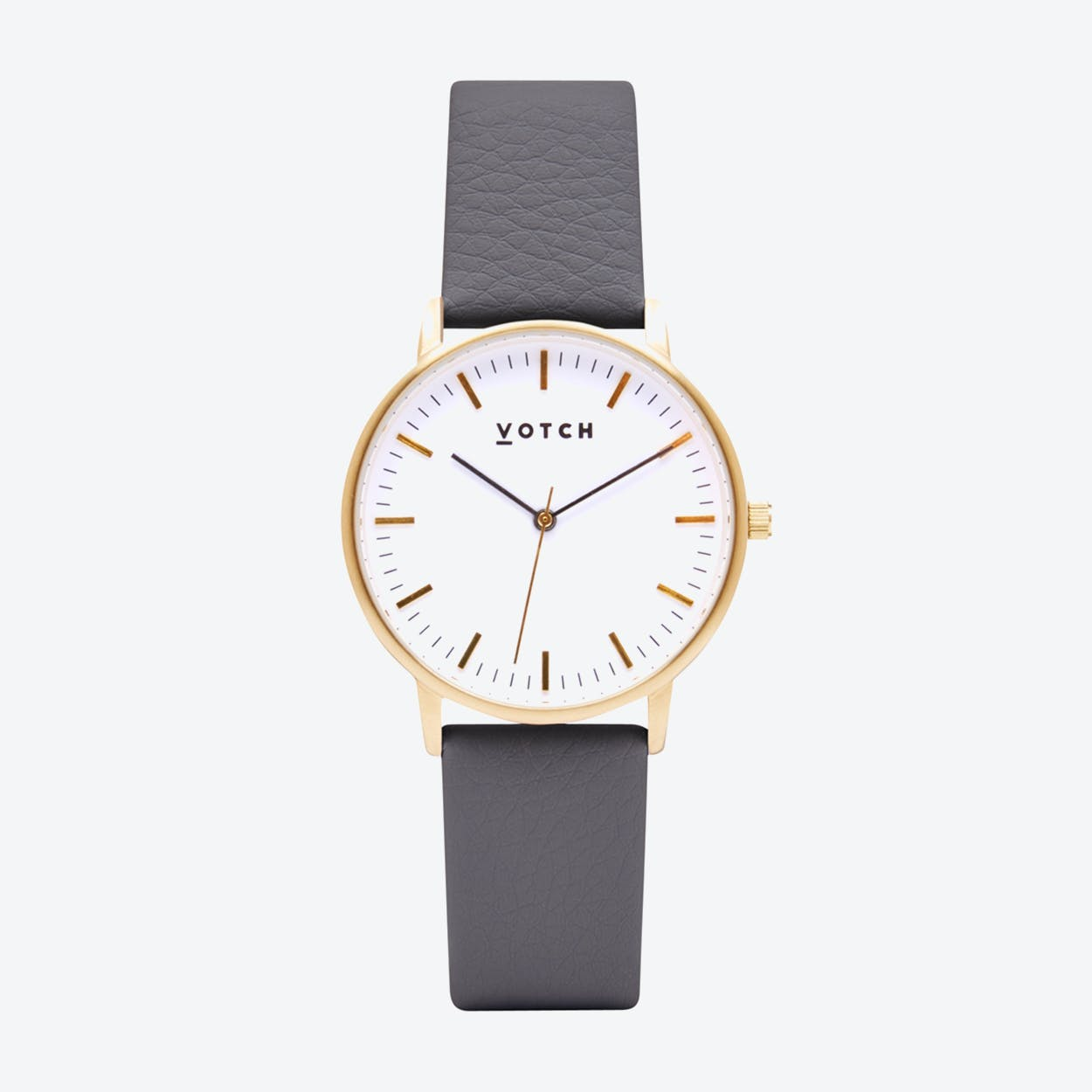 Intense Classic Watch in Gold with White Face and Grey Vegan Leather Strap, 36mm