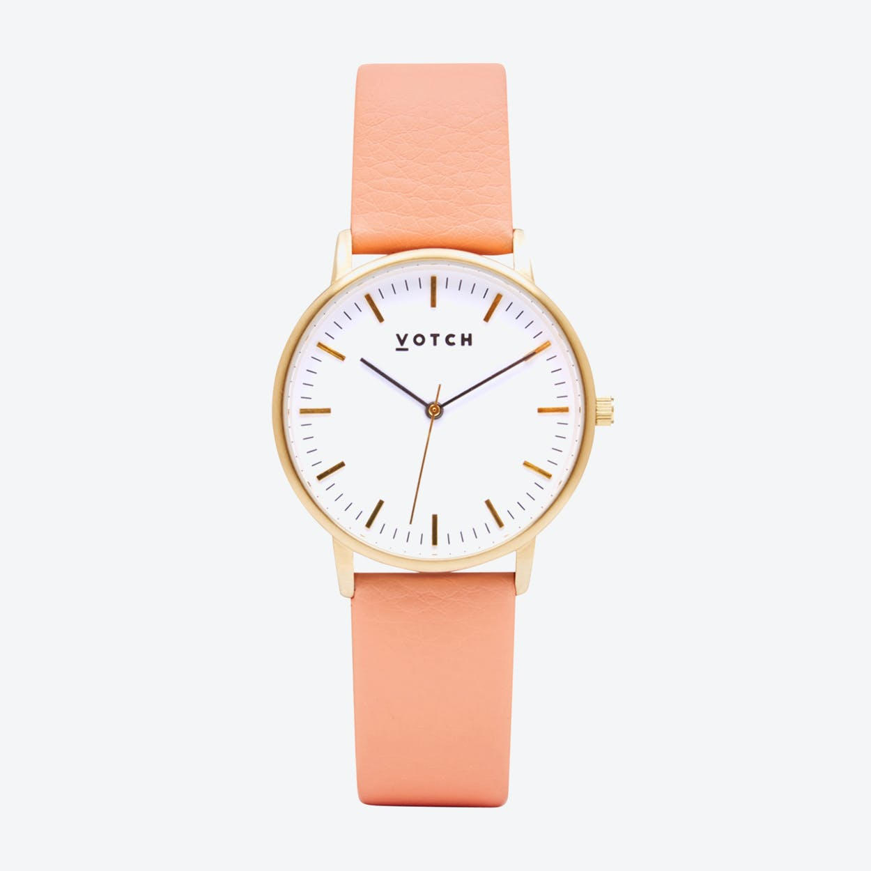 Intense Classic Watch in Gold with White Face and Coral Vegan Leather Strap, 36mm