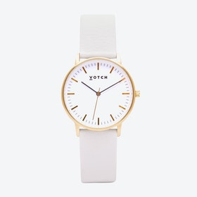 Intense Classic Watch in Gold with White Face and Off-White Vegan Leather Strap, 36mm