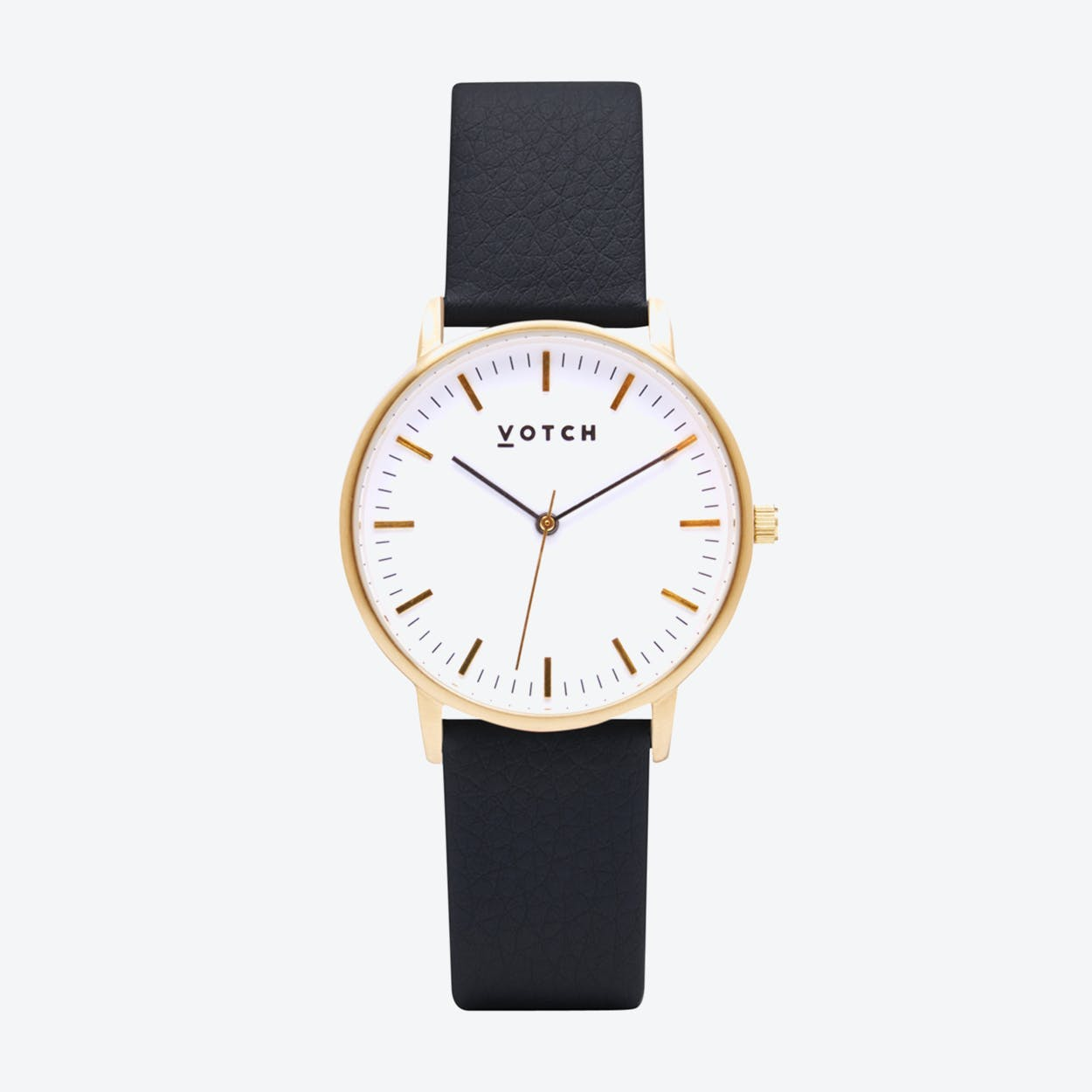 Intense Classic Watch in Gold with White Face and Black Vegan Leather Strap, 36mm