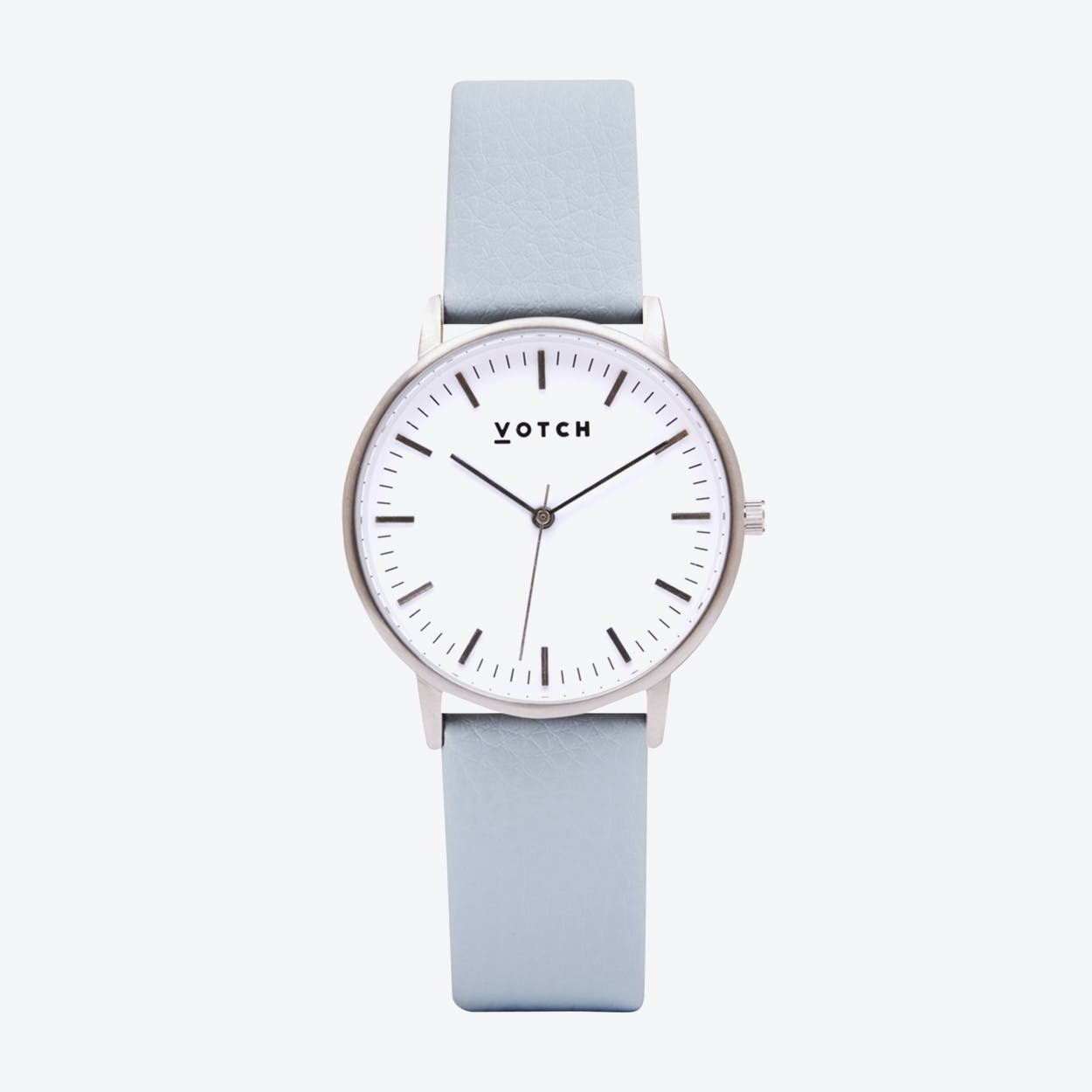 Intense Classic Watch in Silver with White Face and Light Blue Vegan Leather Strap, 36mm