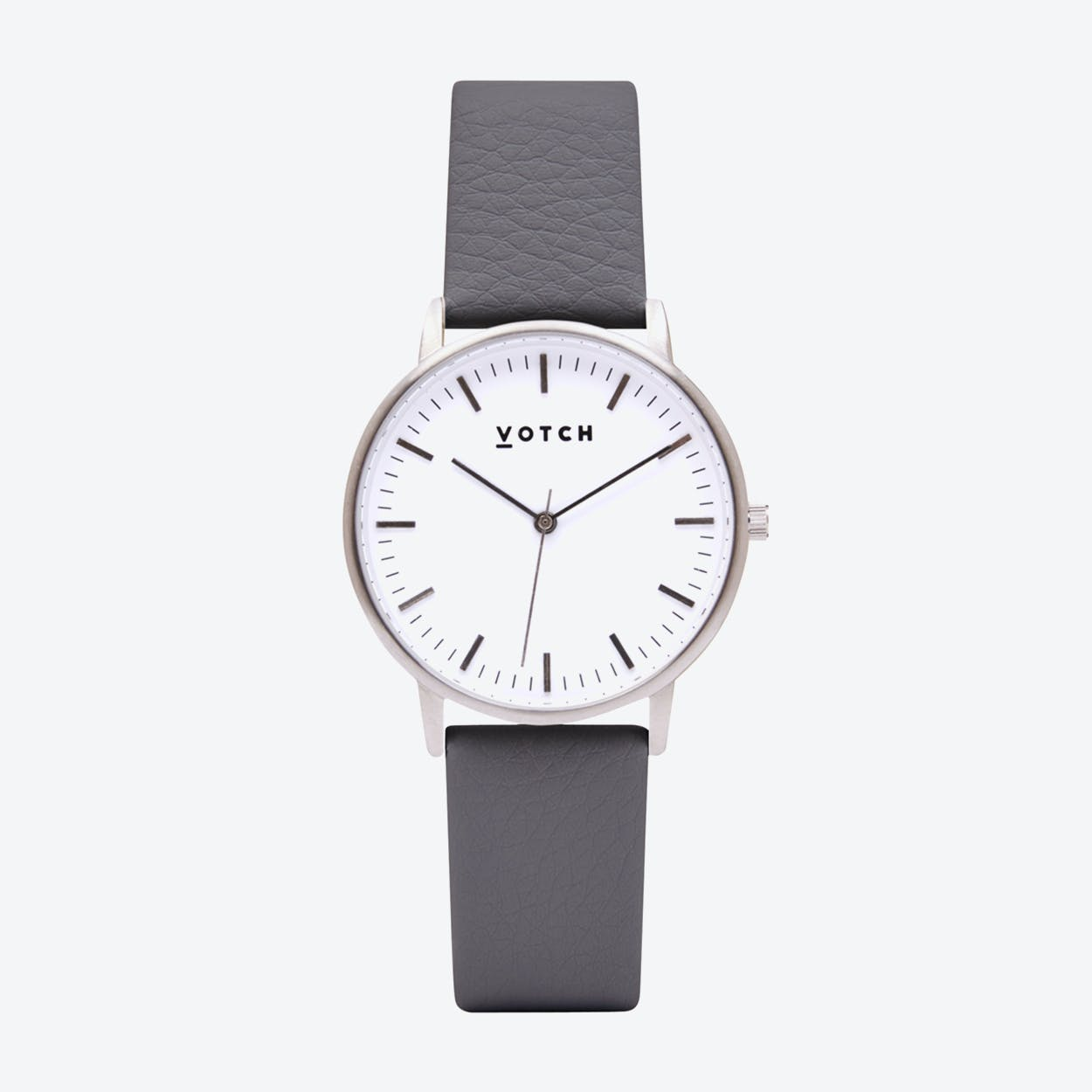 Intense Classic Watch in Silver with White Face and Slate Grey Vegan Leather Strap, 36mm