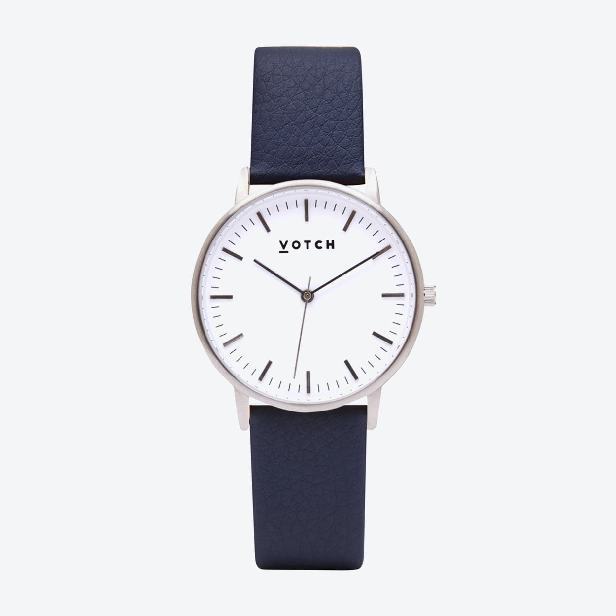 Intense Classic Watch in Silver with White Face and Navy Vegan Leather Strap, 36mm