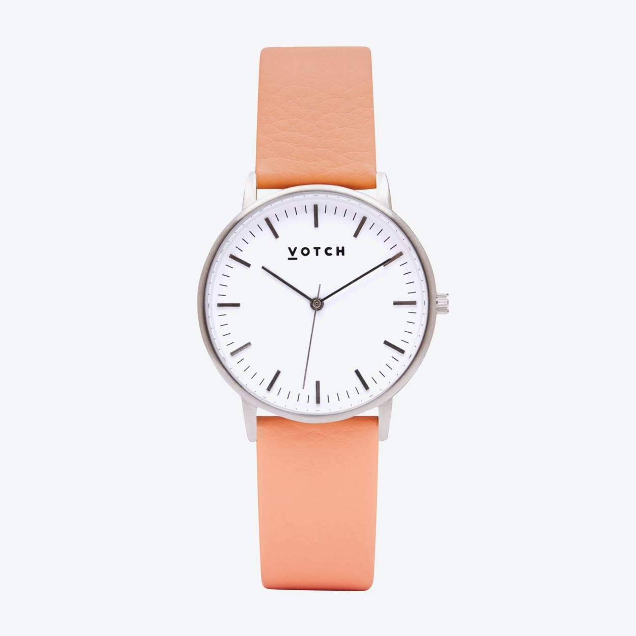 Intense Classic Watch in Silver with White Face and Coral Vegan Leather Strap, 36mm