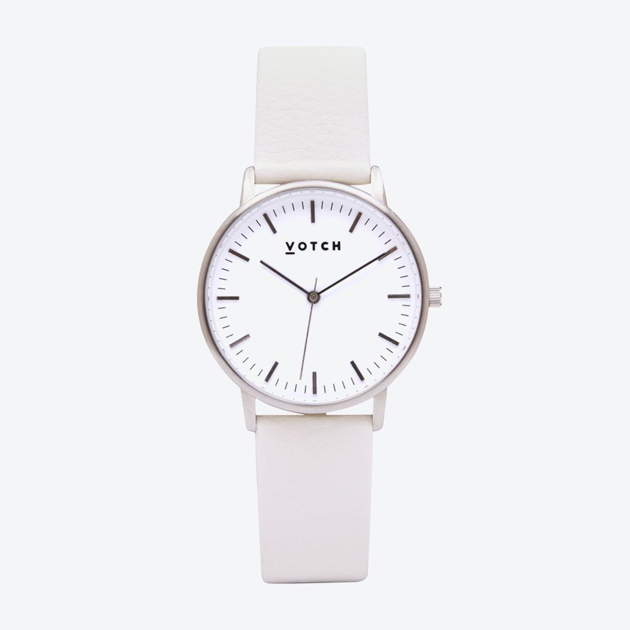Intense Classic Watch in Silver with White Face and Off-White Vegan Leather Strap, 36mm
