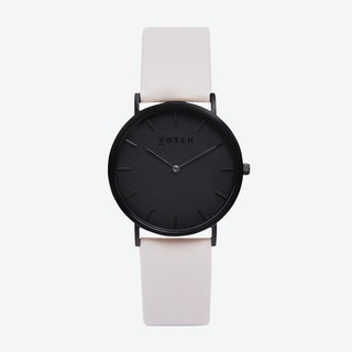 Classic Watch in Black with Black Face and Light Grey Vegan Leather Strap, 38mm