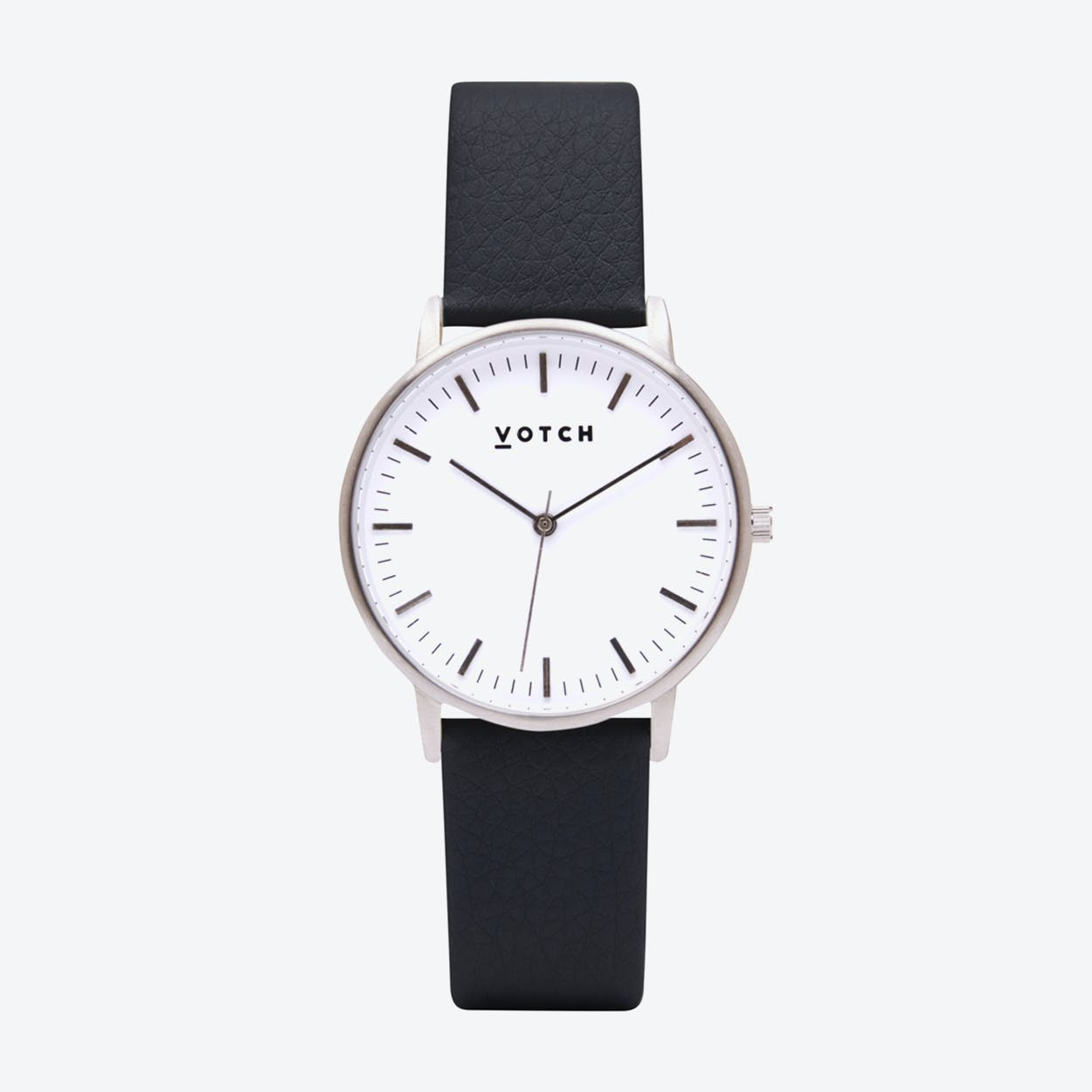 Intense Classic Watch in Silver with White Face and Black Vegan Leather Strap, 36mm