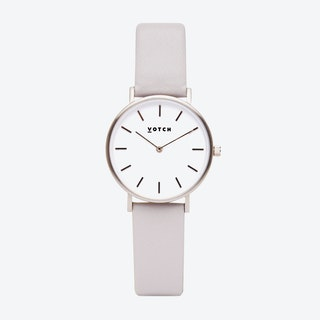 Classic Petite Watch in Silver with White Face and Light Grey Vegan Leather Strap, 33mm