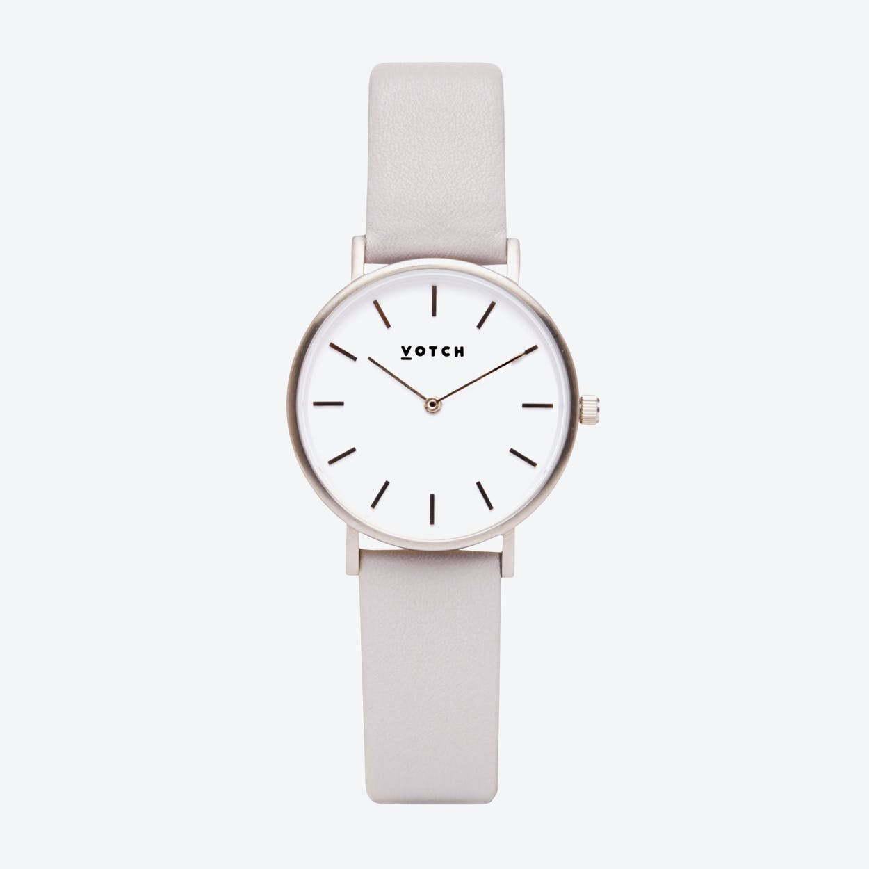 Classic Watch in Silver with White Face and Light Grey Vegan Leather Strap, 33mm
