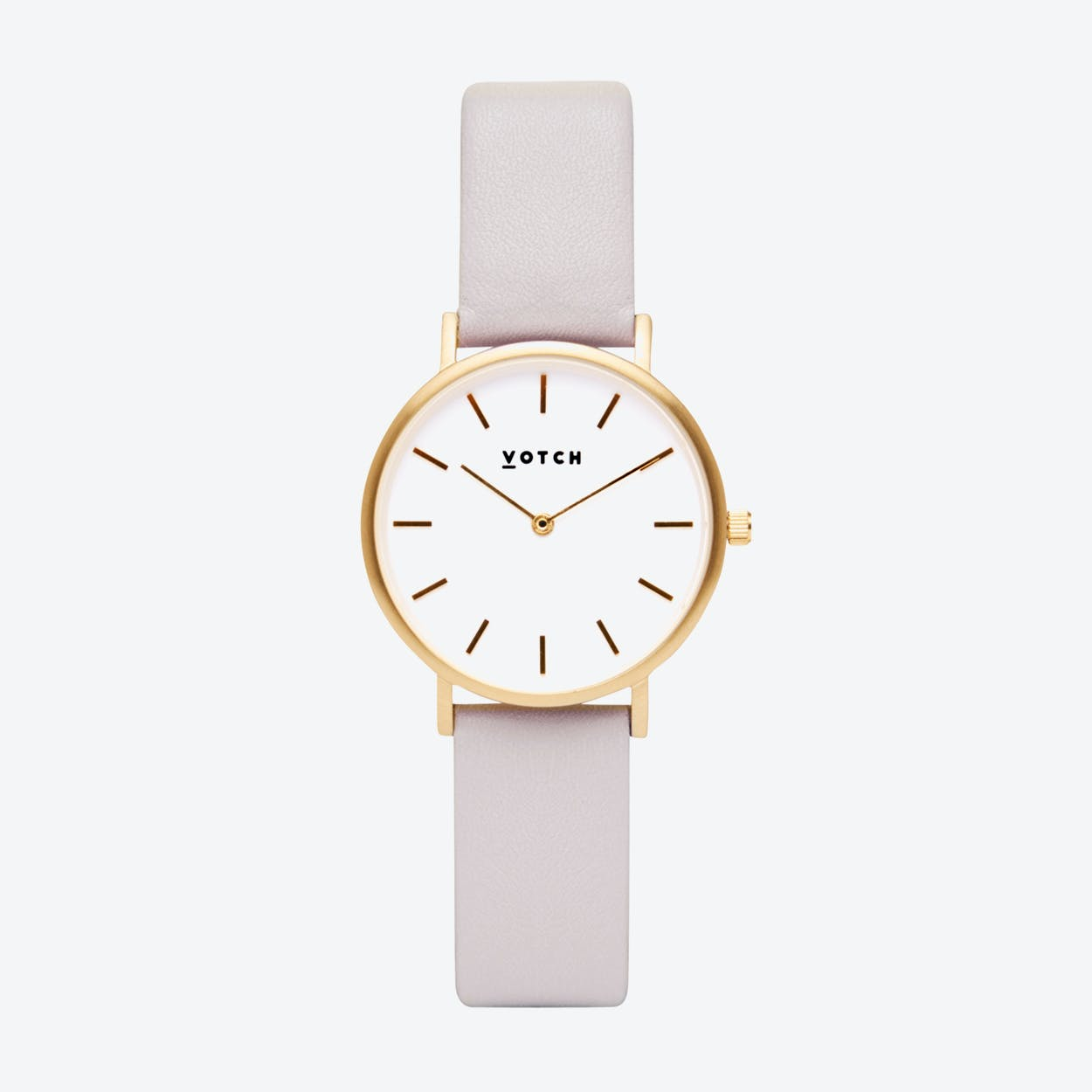 Classic Petite Watch in Gold with White Face and Light Grey Vegan Leather Strap, 33mm