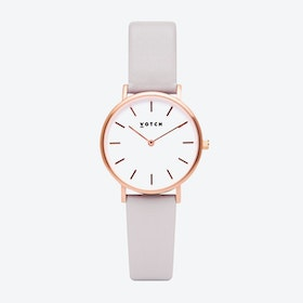 Classic Watch in Rose Gold with White Face and Light Grey Vegan Leather Strap, 33mm