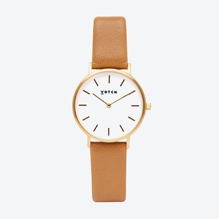 Classic Petite Watch in Gold with White Face and Tan Vegan Leather Strap, 33mm