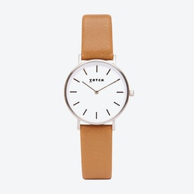 Classic Petite Watch in Silver with White Face and Tan Vegan Leather Strap, 33mm