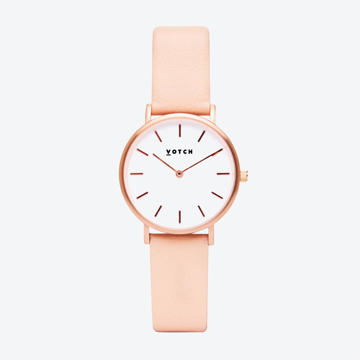 Classic Petite Watch in Rose Gold with White Face and Pink Vegan Leather Strap, 33mm