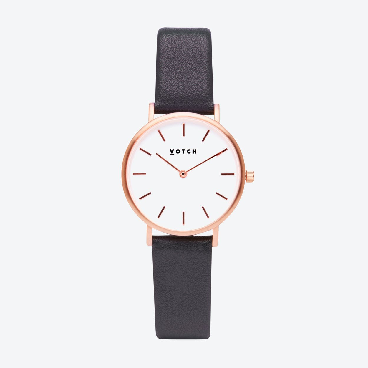 Classic Petite Watch in Rose Gold with White Face and Dark Grey Vegan Leather Strap, 33mm