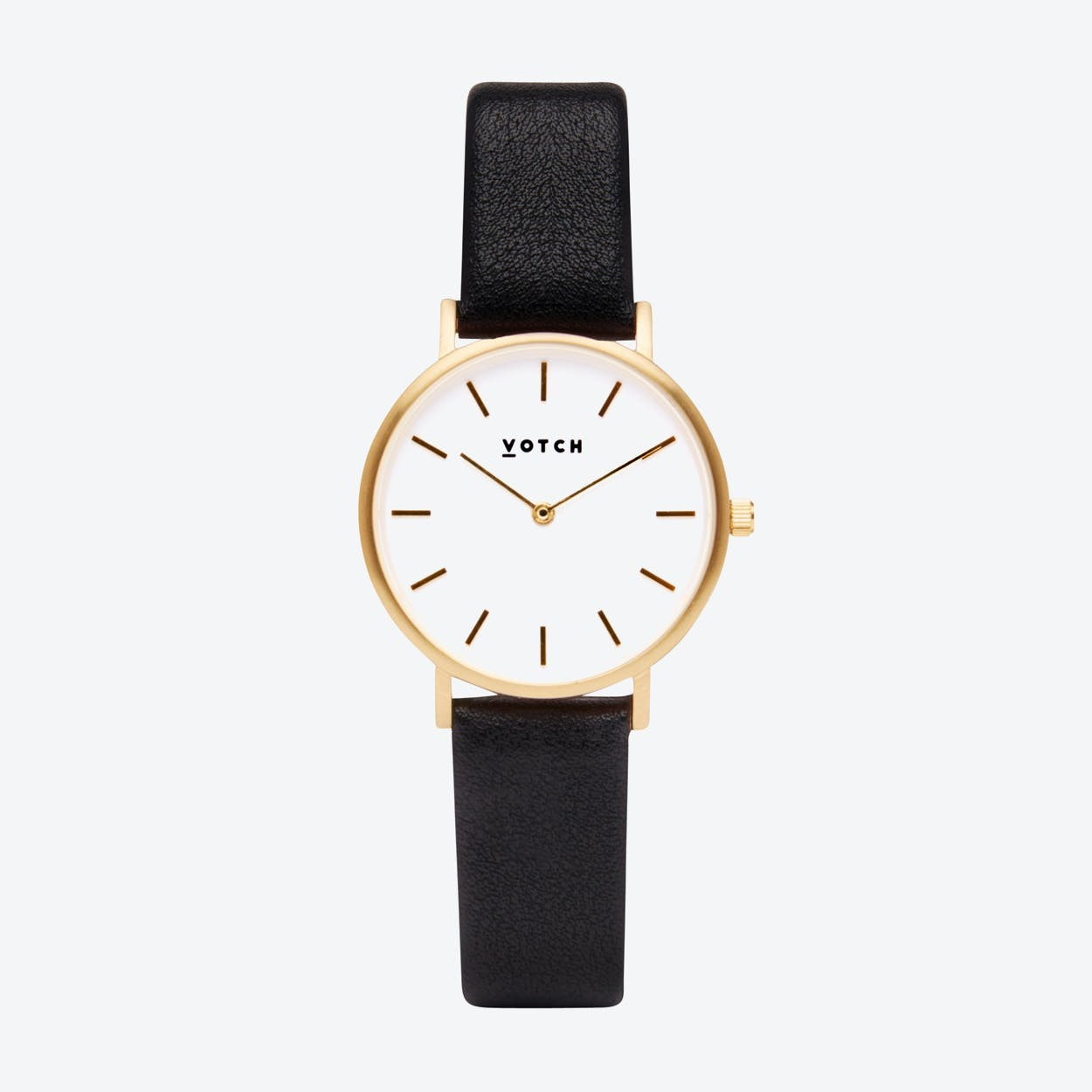 Classic Petite Watch in Gold with White Face and Black Vegan Leather Strap, 33mm