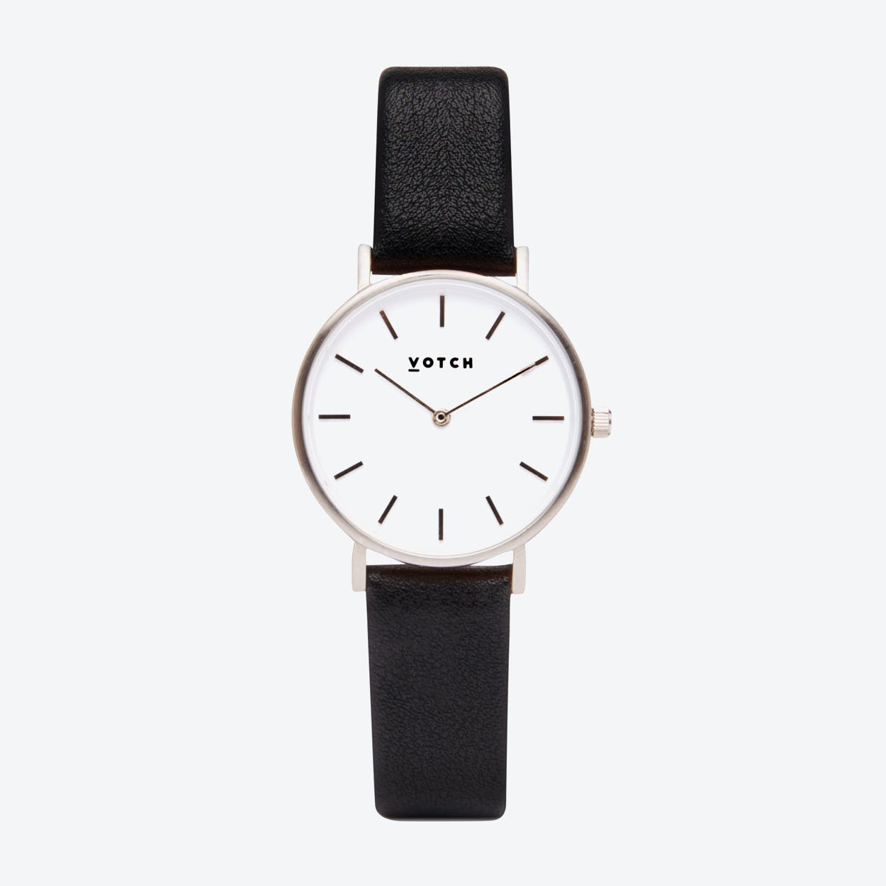 Classic Petite Watch in Silver with White Face and Black Vegan Leather Strap, 33mm