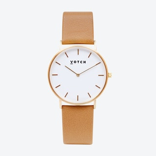 Classic Watch in Gold with White Face and Tan Vegan Leather Strap, 38mm