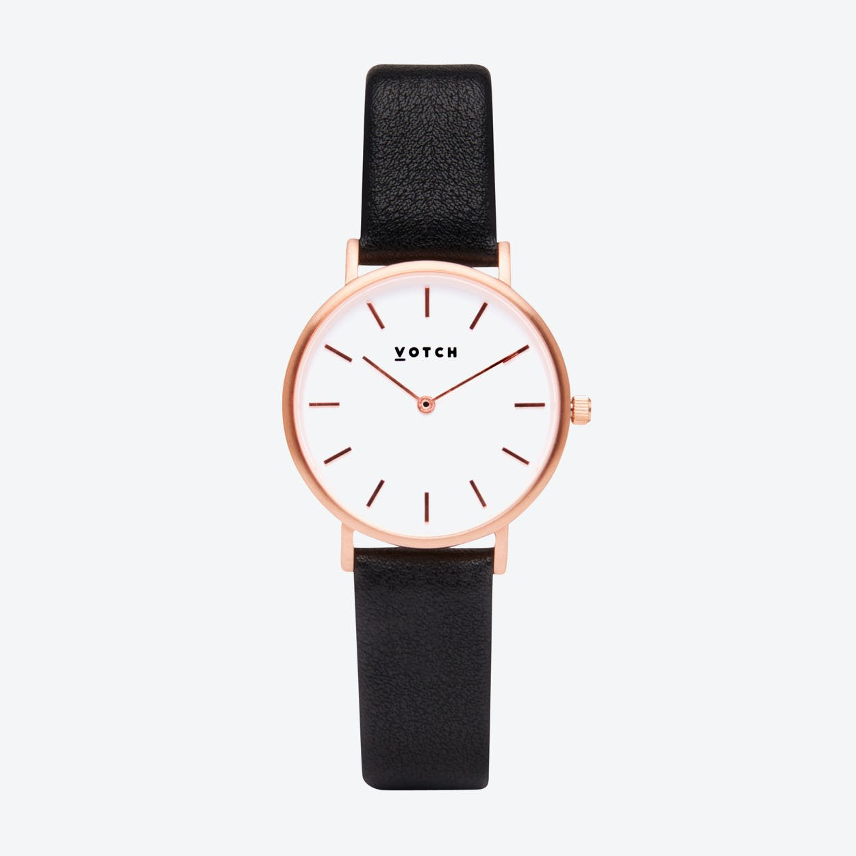 Classic Petite Watch in Rose Gold with White Face and Black Vegan Leather Strap, 33mm