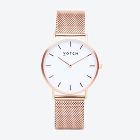 Classic Watch in Rose Gold with White Face and Rose Gold Mesh Strap