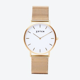 Classic Watch in Gold with White Face and Gold Mesh Strap